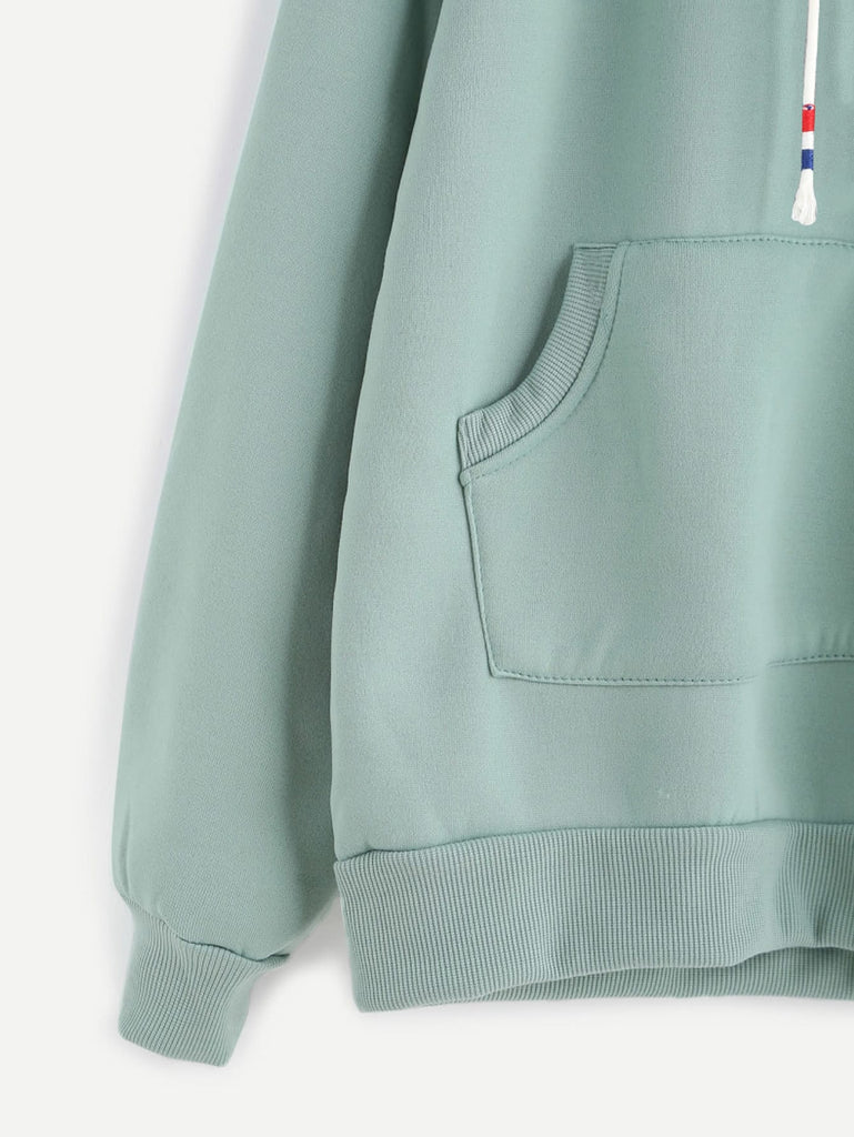 Shein | Pale Green Raglan Sleeve Pocket Sweatshirt With Contrast Hood - Yashry