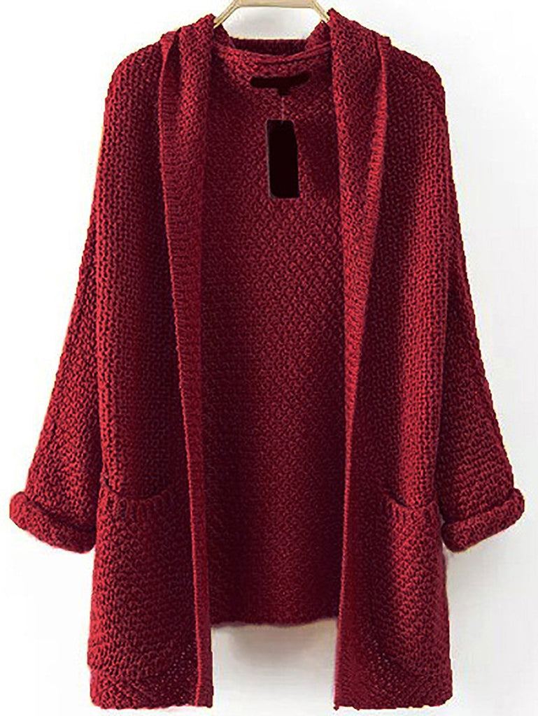 Shein | Pocket Front Textured Hooded Sweater Coat - Yashry