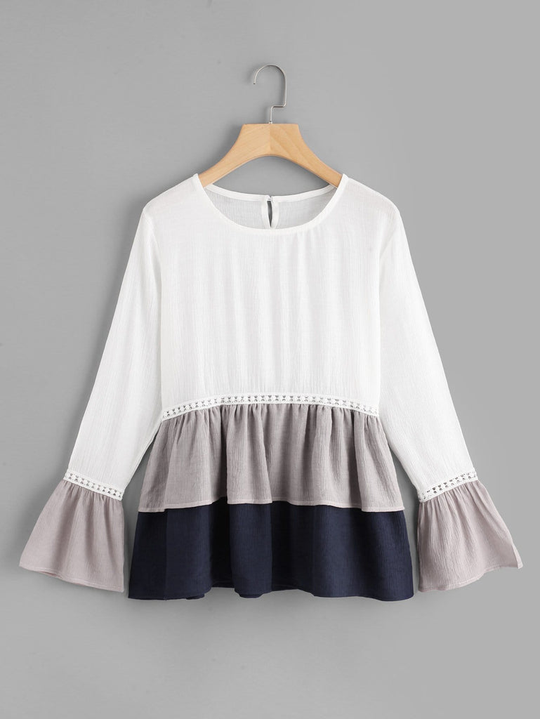 Shein | Flounce Sleeve Colorblock Smock Top - Yashry