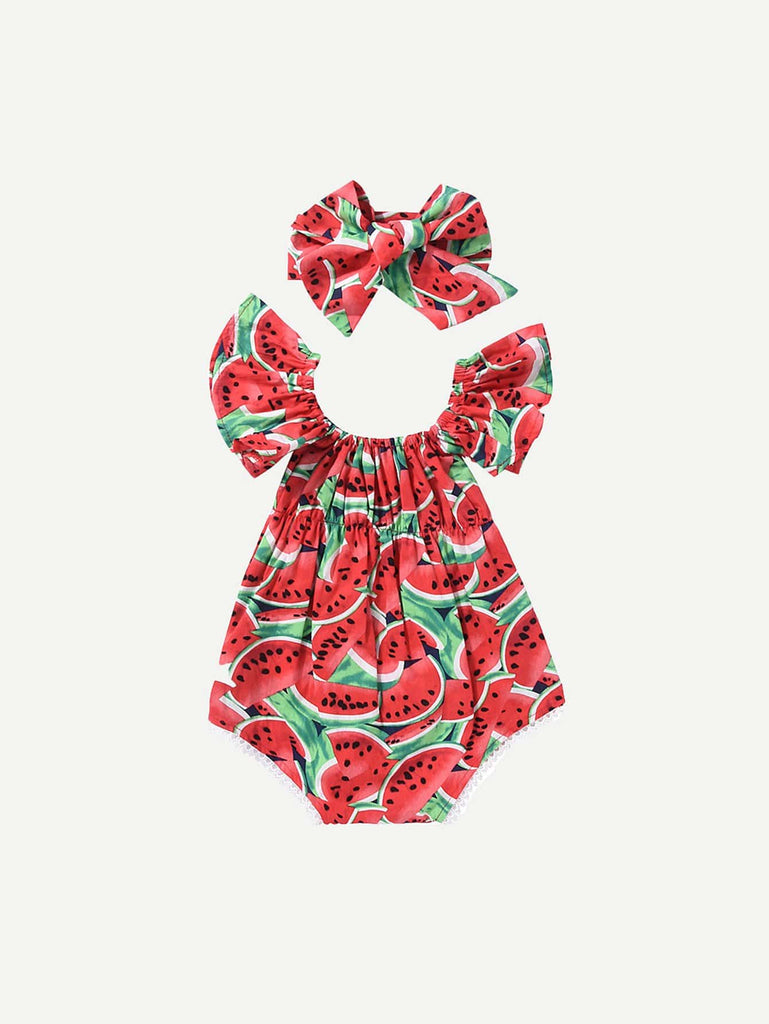 SHEIN | Toddler Girls Watermelon Print Romper With Headband - Yashry