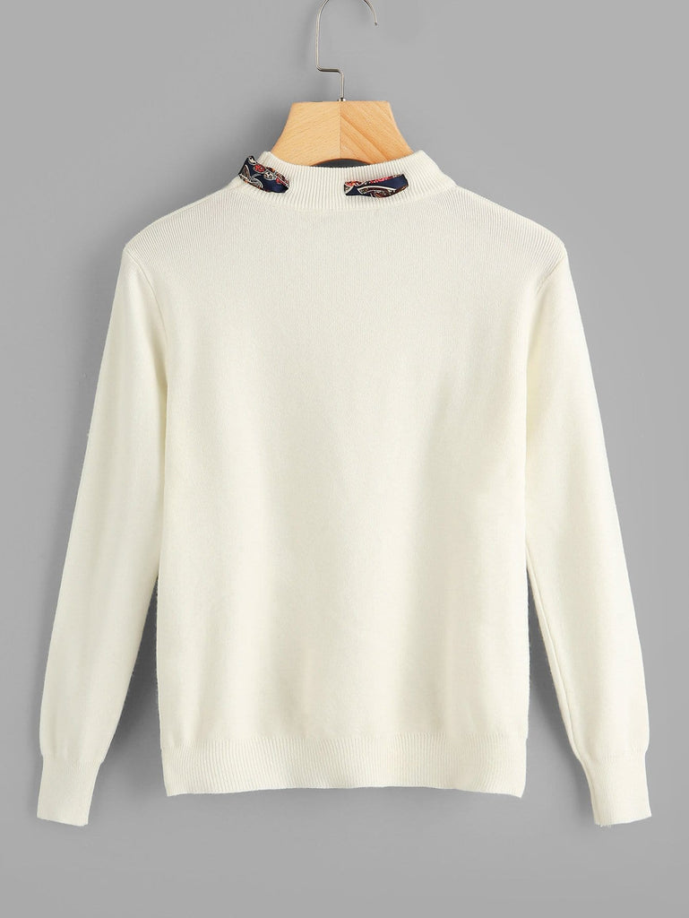 SHEIN | Solid Knotted Decoration Sweater - Yashry