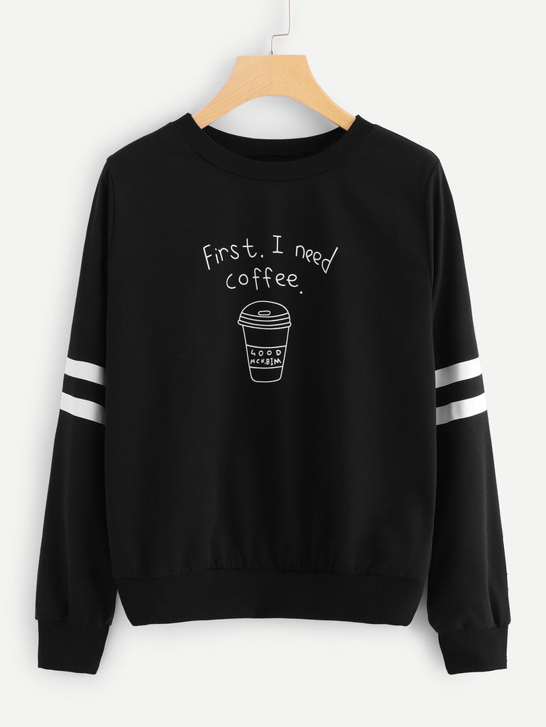 Shein | Black Coffee Cup Letters Print Striped Sweatshirt - Yashry