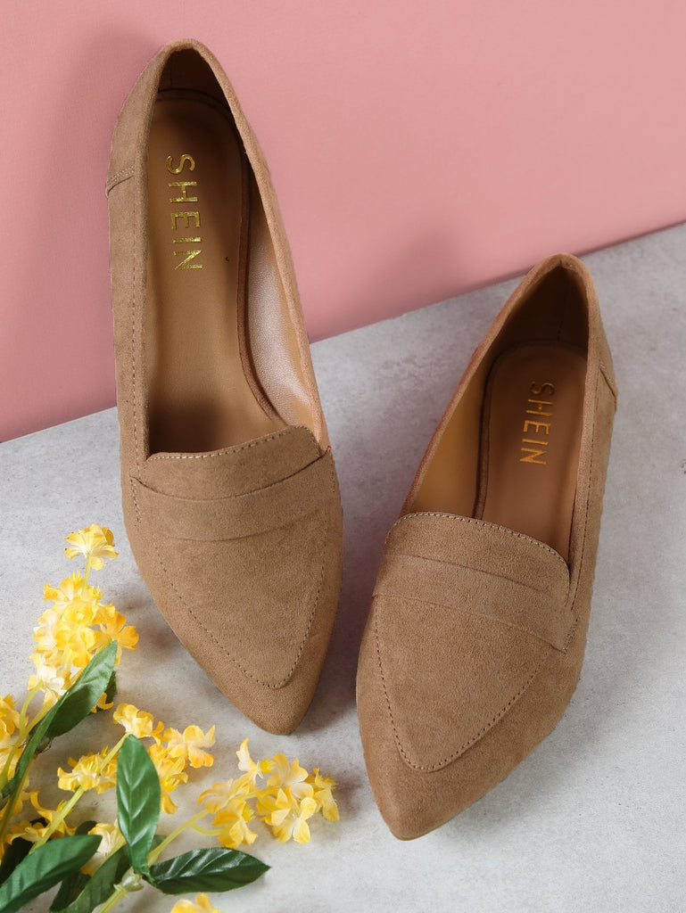 SHEIN | Vegan Suede Pointy Toe Flat Loafer Shoes - Yashry