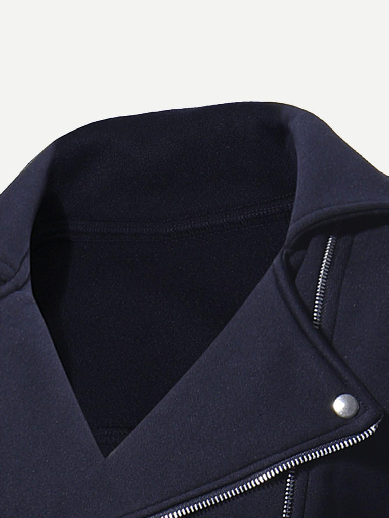 SHEIN | Men Zip Decoration Plain Jacket - Yashry