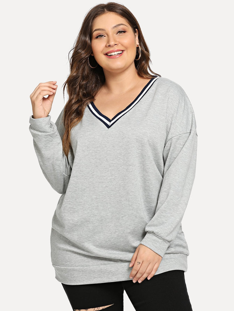 SHEIN | Plus Drop Shoulder V Neck Sweatshirt - Yashry