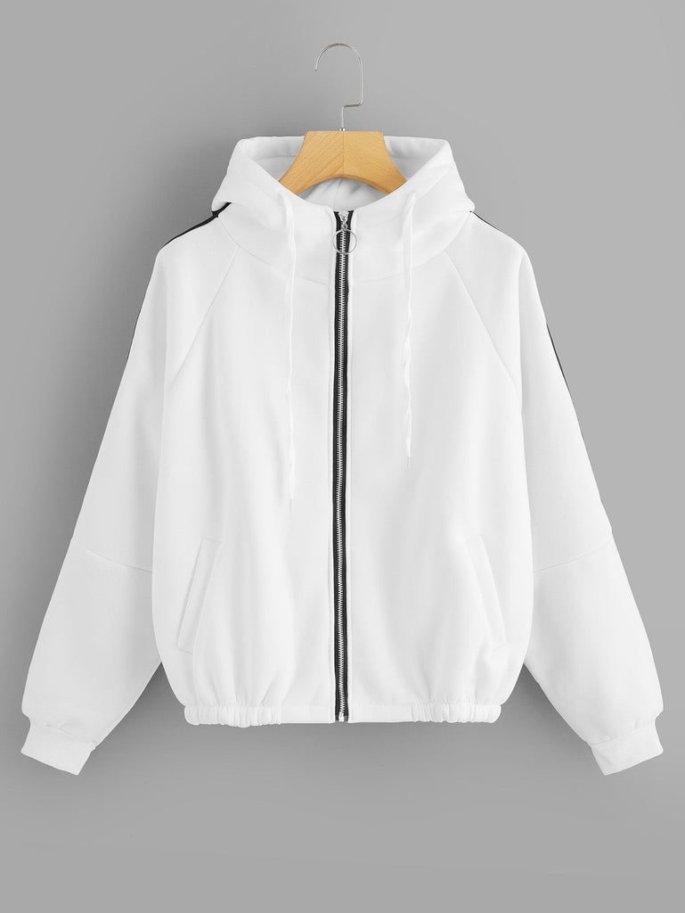Shein | Raglan Sleeve Zip Up Jacket - Yashry