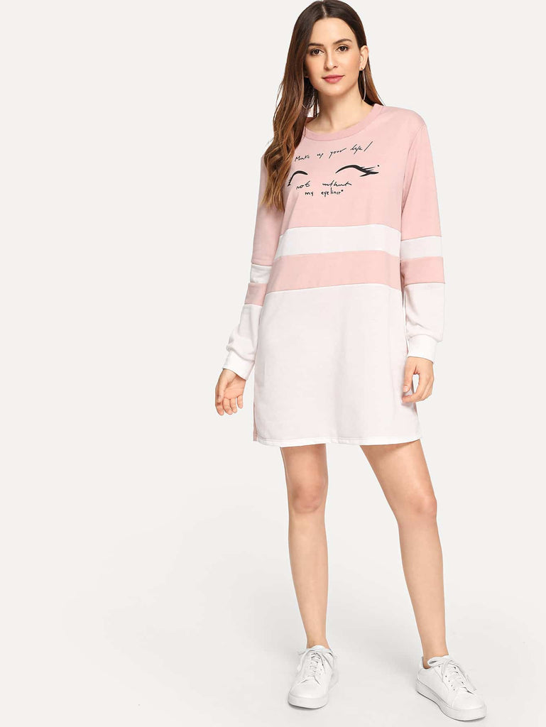 Letter Print Colorblock Dress