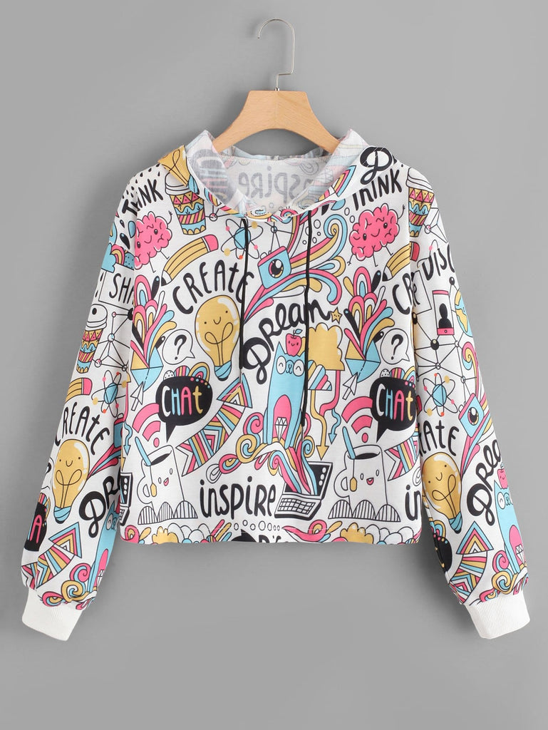 Shein | Cartoon Print Drawstring Hoodie - Yashry