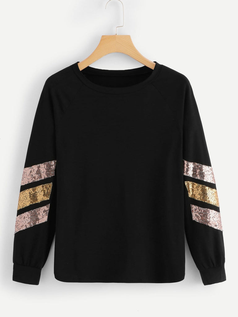 Shein | Contrast Striped Sequin Tee - Yashry