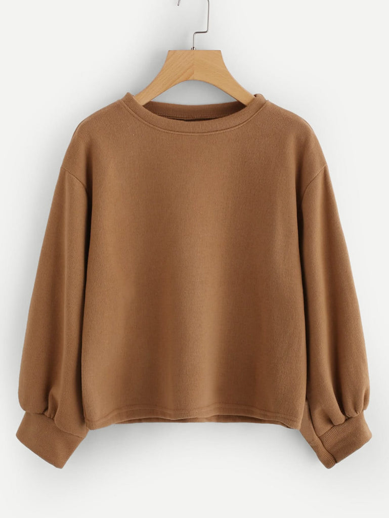 SHEIN | Plus Drop Shoulder Solid Sweatshirt - Yashry