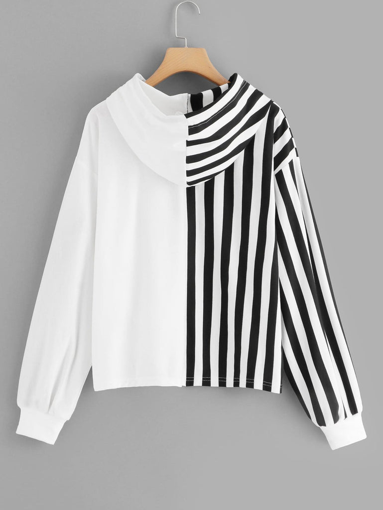 SHEIN | Plus Contrast Sequin Striped Hooded Sweatshirt - Yashry