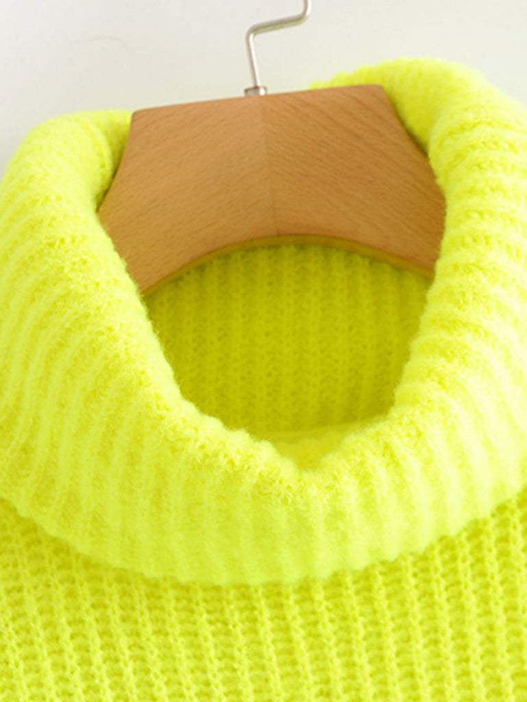 Shein | Neon Lime Turtleneck Drop Shoulder Jumper - Yashry