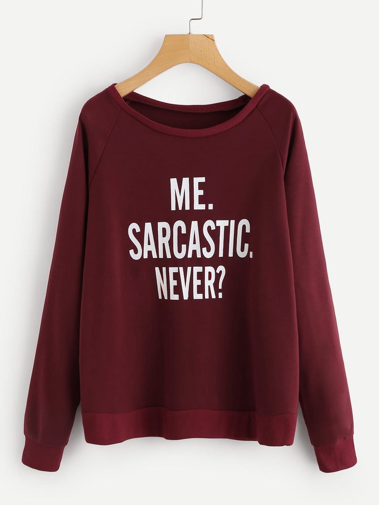 SHEIN | Plus Raglan Sleeve Slogan Graphic Sweatshirt - Yashry