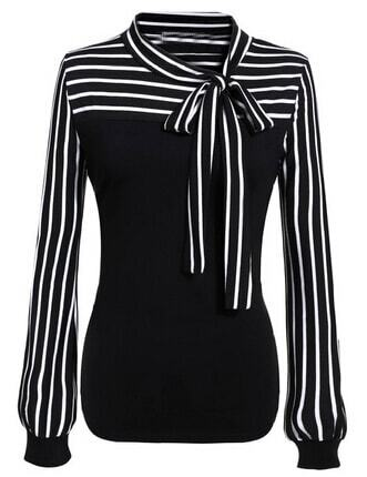 Shein | Black White Tie-neck Striped Blouse - Yashry