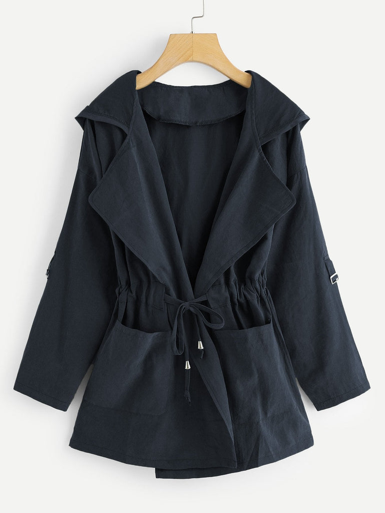 Shein | Plus Knot Front Ruched Hooded Coat - Yashry