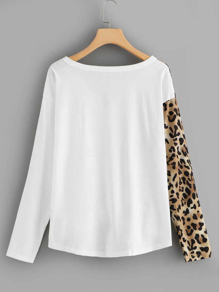 Shein | Leopard Spliced Button Through Top - Yashry