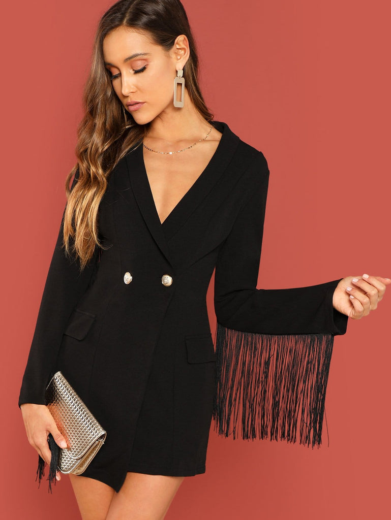 Shein | Fringe Trim Double Breasted Fitted Coat - Yashry