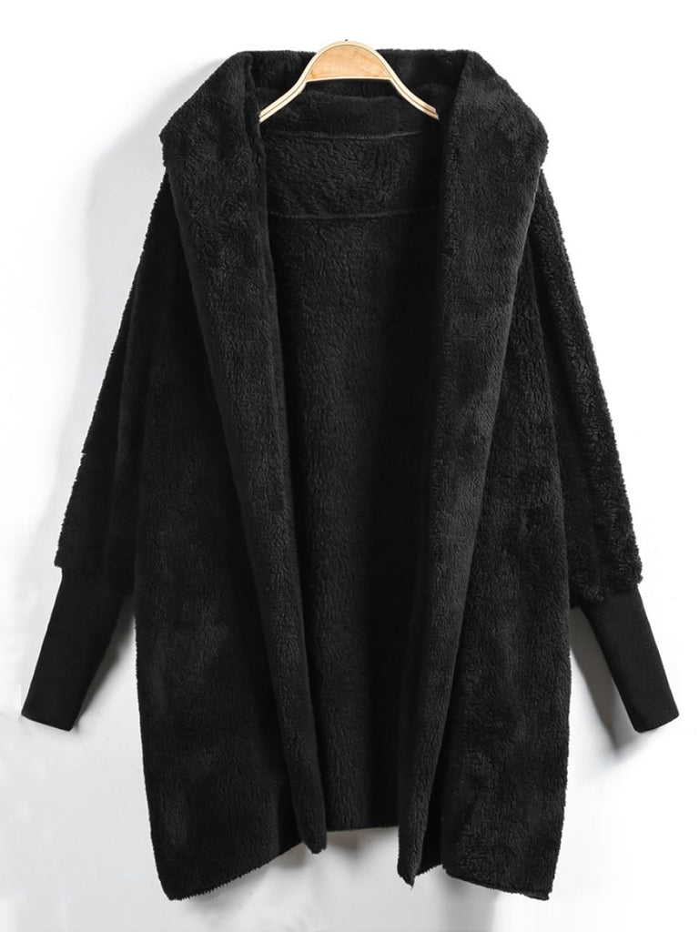 Shein | Plus Solid Hooded Teddy Coat - Yashry