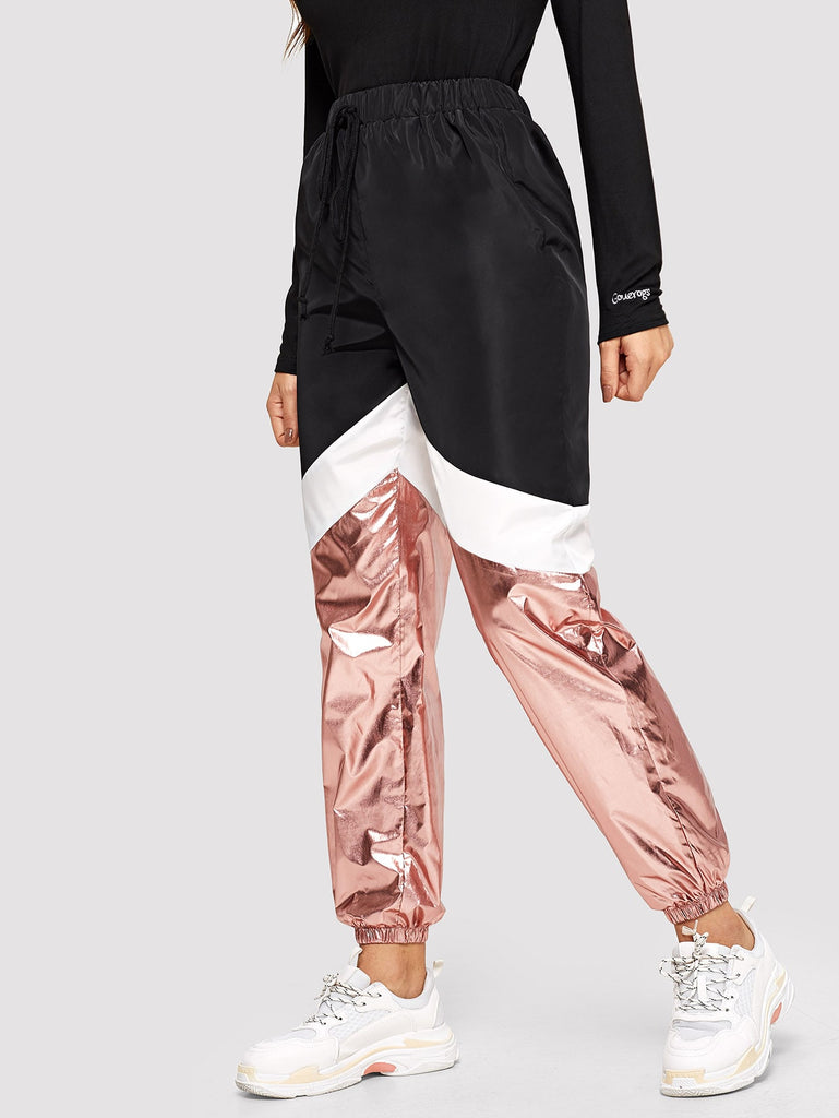 Shein | Cut-and-sew Metallic Panel Sweatpants - Yashry