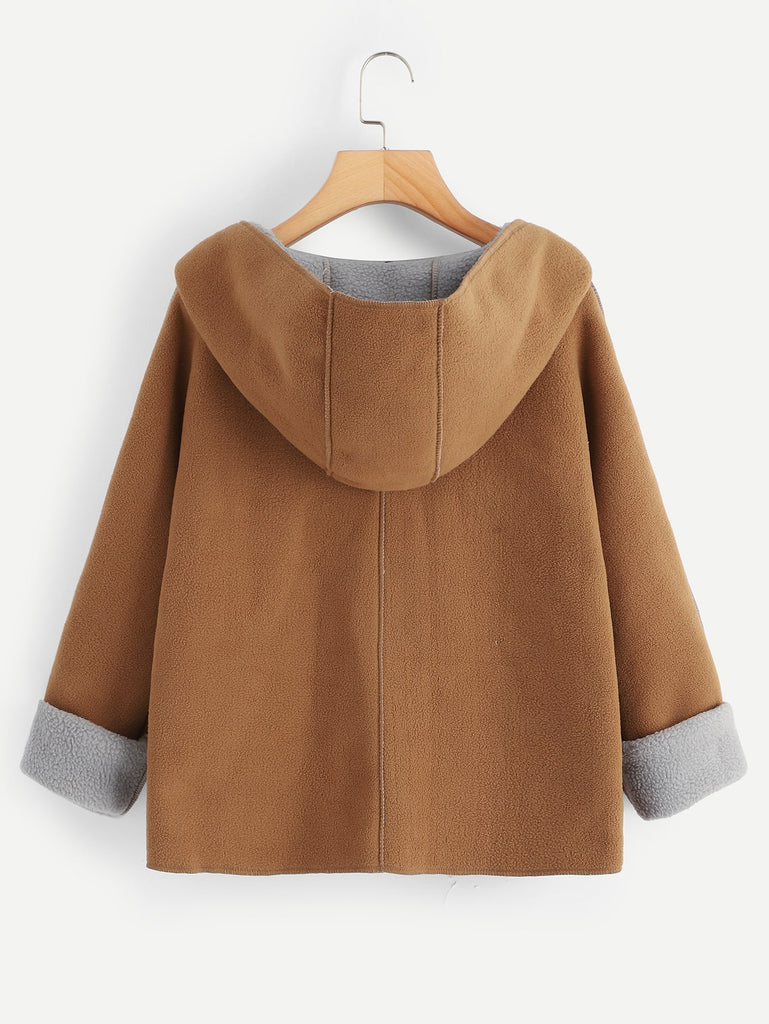 Shein | Khaki Contrast Sherpa Lining Single Button Hooded Coat - Yashry