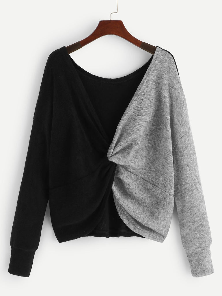 Shein | Twist Front Colorblock Jumper - Yashry