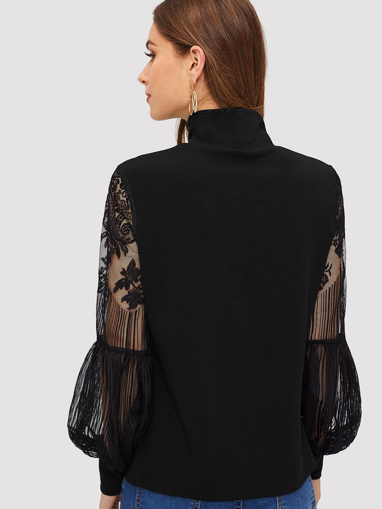 Shein | High Neck Lace Lantern Sleeve Top - Yashry