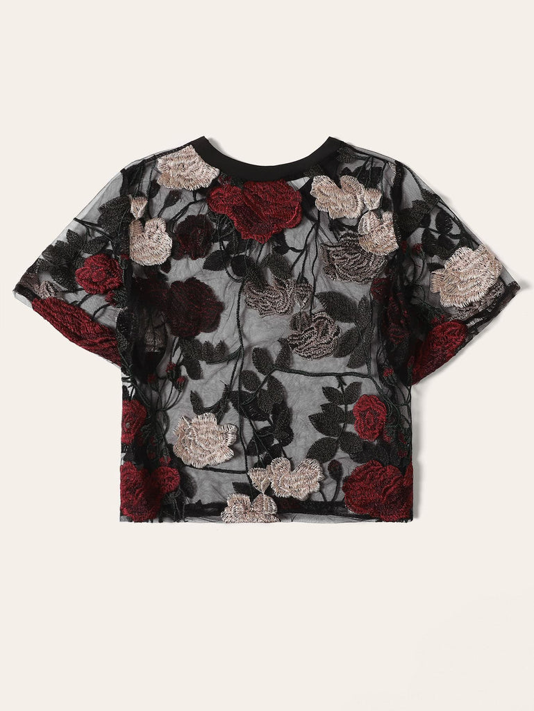 Shein | Floral Embroidery Sheer Blouse - Yashry