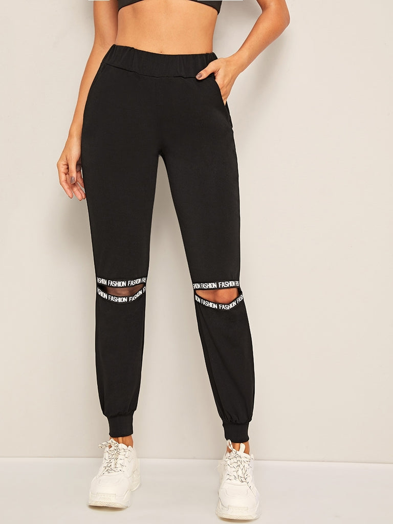 Shein | Letter Tape Cut Out Sweatpants - Yashry