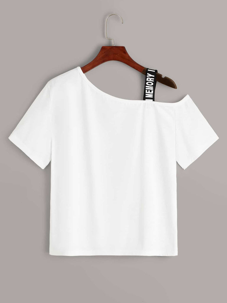 Shein | Figure Graphic Ribbon Asymmetrical Neck Tee - Yashry