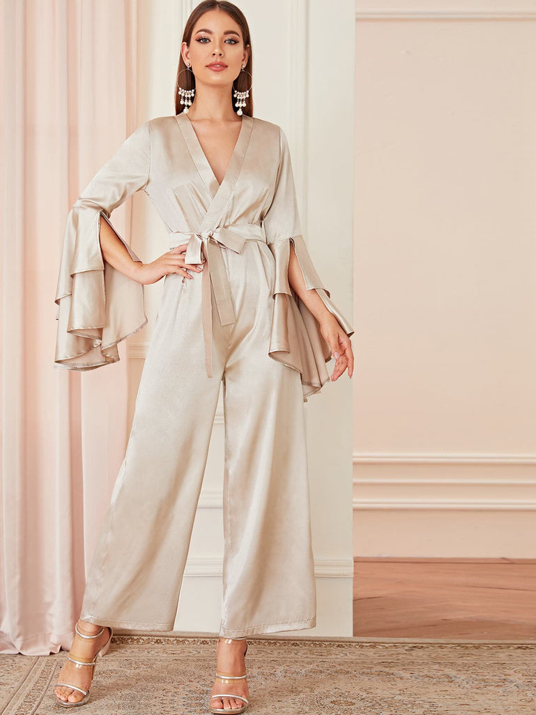 Shein | Satin Surplice Front Layered Flounce Sleeve Jumpsuit - Yashry