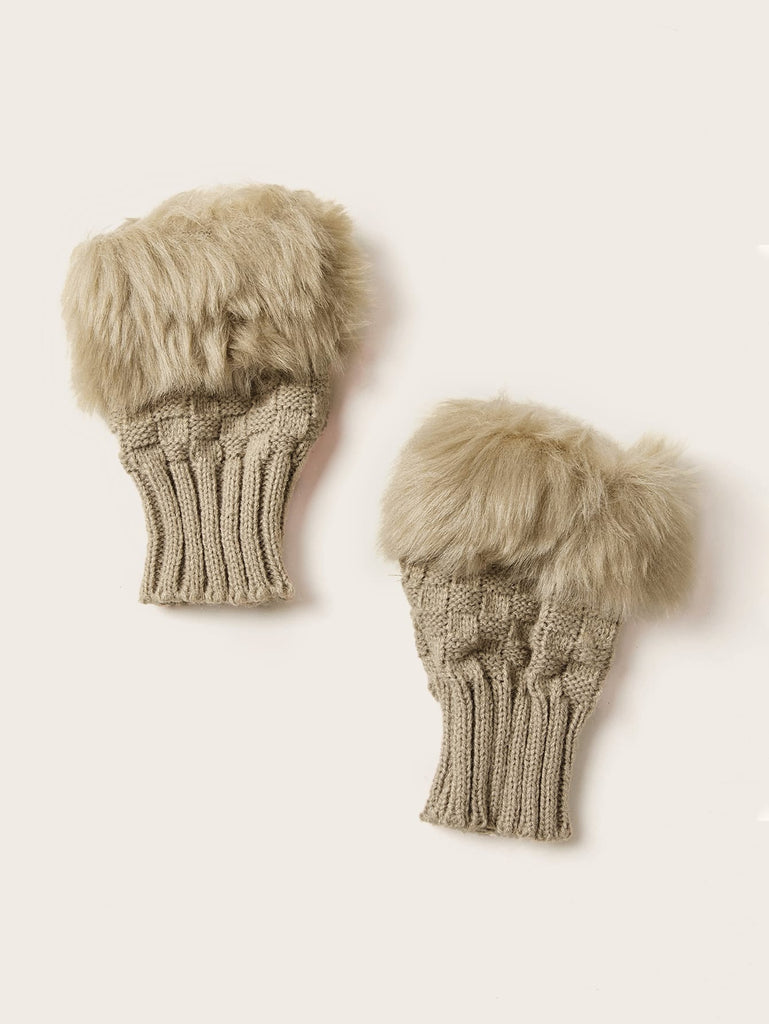 Shein | Fluffy Trim Knitted Gloves - Yashry