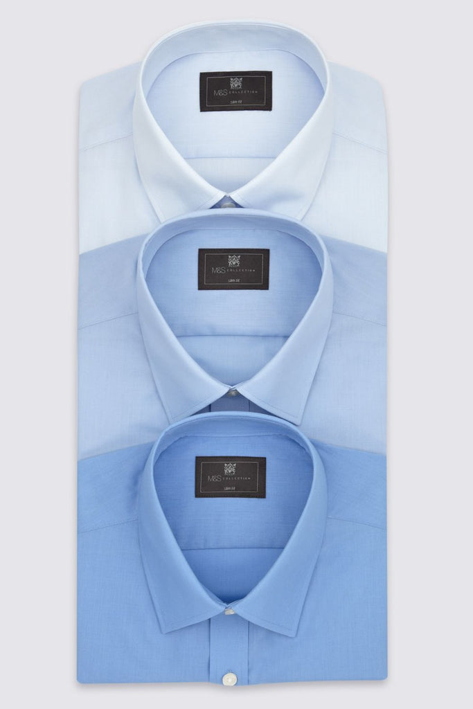 Marks & Spencer | Men's Blue Male 3-Piece Easily Ironing Slim Shirt T11002311S - Yashry