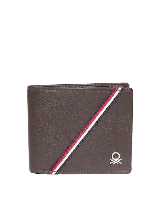 United Colors of Benetton Men Coffee Brown Leather Solid Two Fold Wallet - Yashry