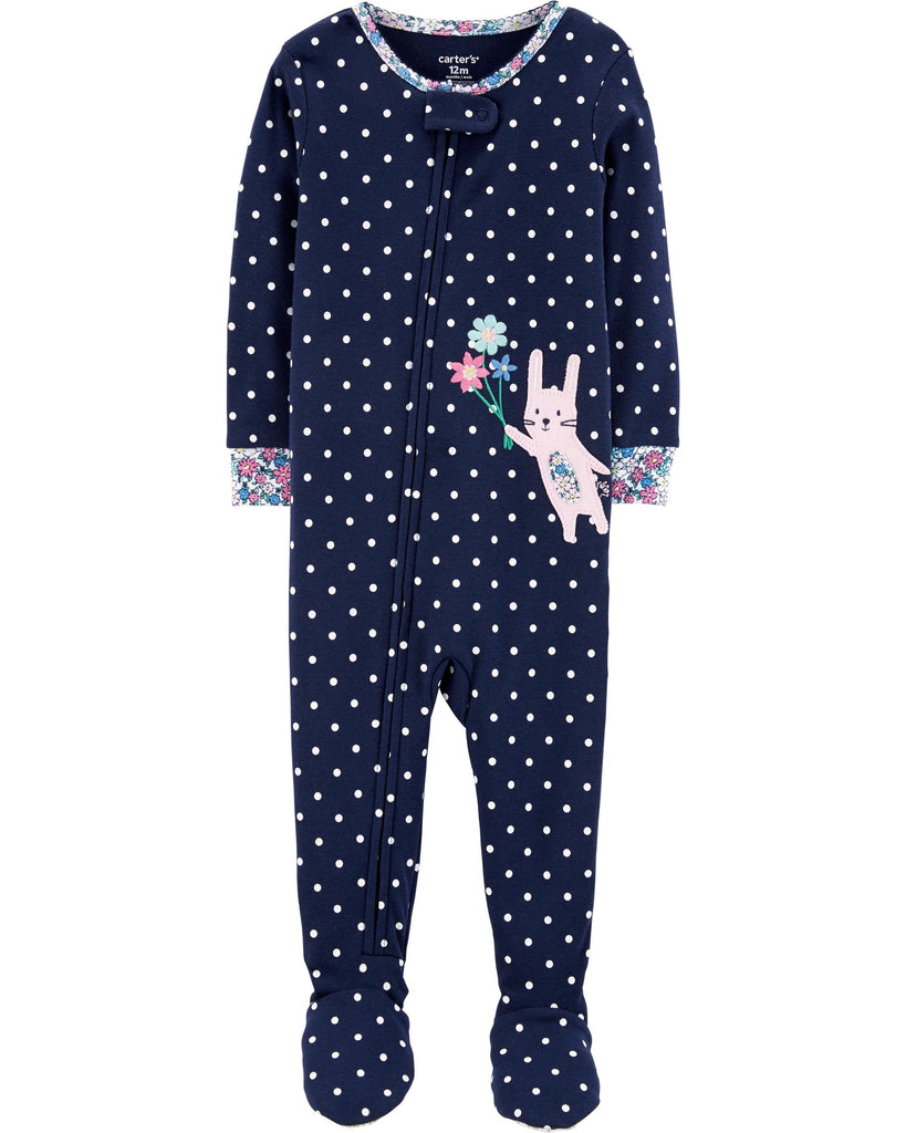 1-Piece Bunny Snug Fit Cotton Footie PJs