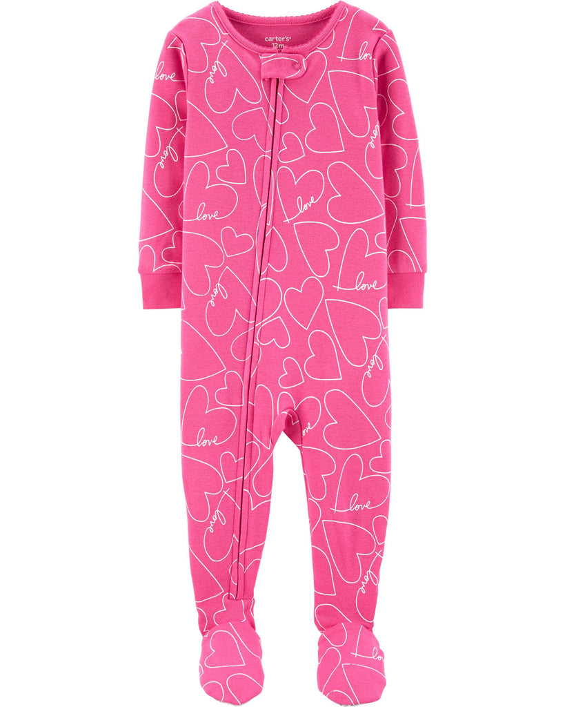 Carter's | 1-Piece Hearts Snug Fit Cotton Footie PJs - Yashry