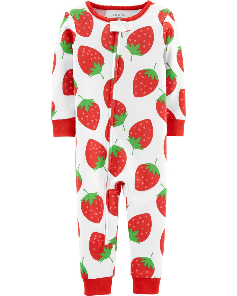 1-Piece Strawberry Snug Fit Cotton Footless PJs