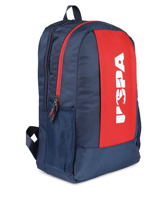 U.S. Polo Assn. Men Navy Blue & Red Colourblocked Backpack - Yashry