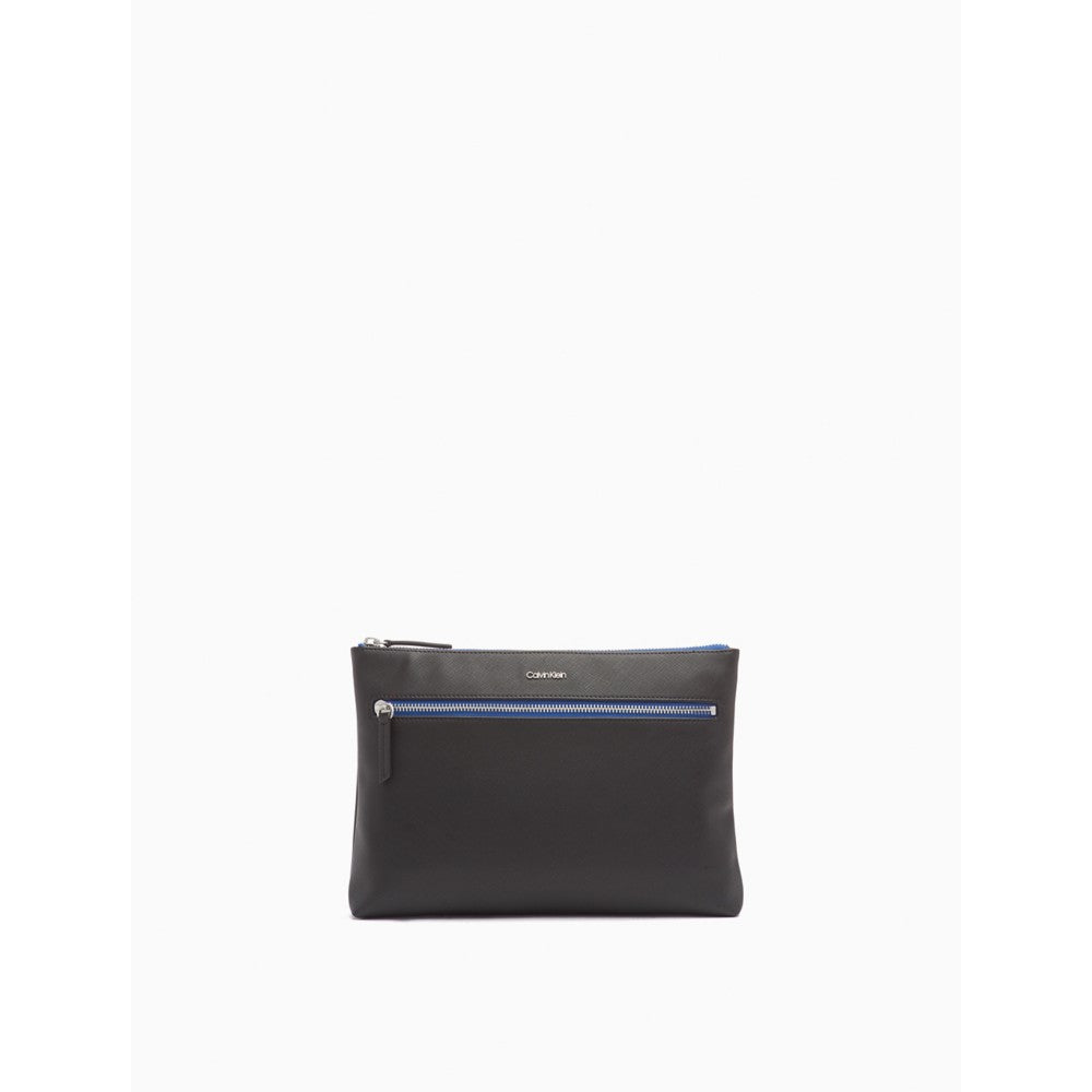Calvin Klein | Saffiano Leather Color Stripe Zip Pouch - Yashry