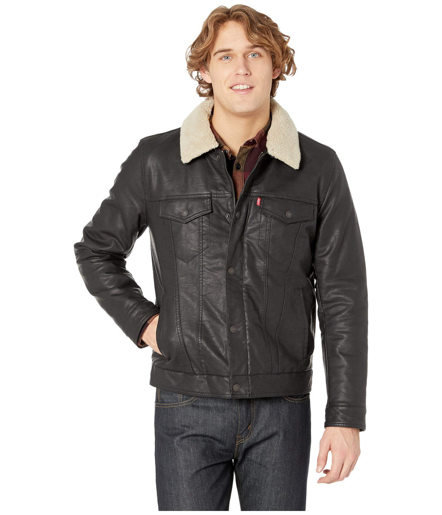 Levi's® | Classic Faux Leather Trucker with Removable Sherpa Collar - Yashry