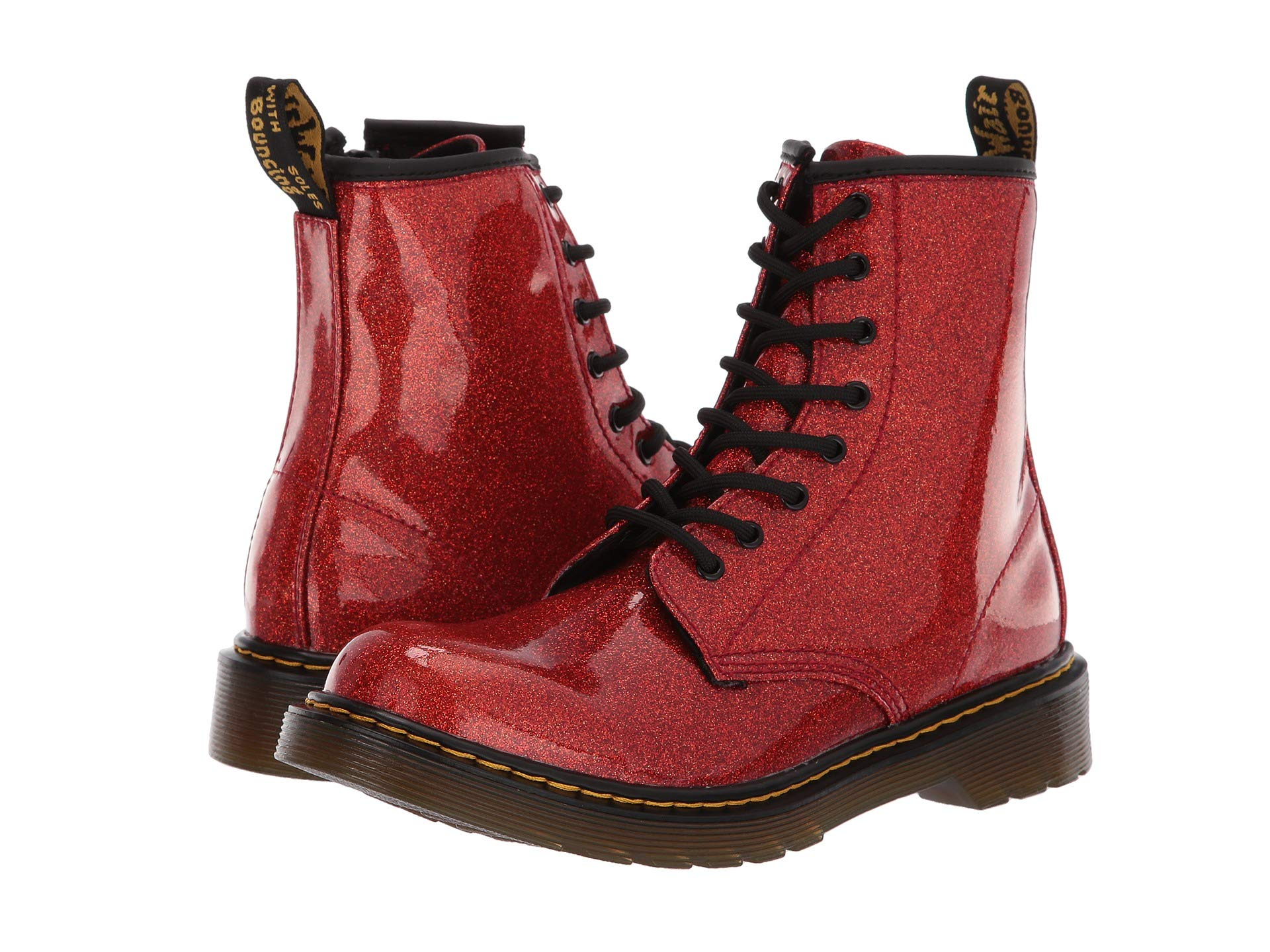 many fashionable latest design wholesale sales Dr. Martens Kid's Collection 1460 Patent Glitter Youth Delaney Boot (Big  Kid) - Red Multi Coated Glitter / 4 UK (US 5 Big Kid)