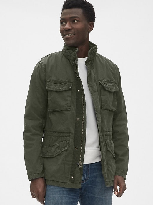 gap | Military Jacket with Hidden Hood - Yashry