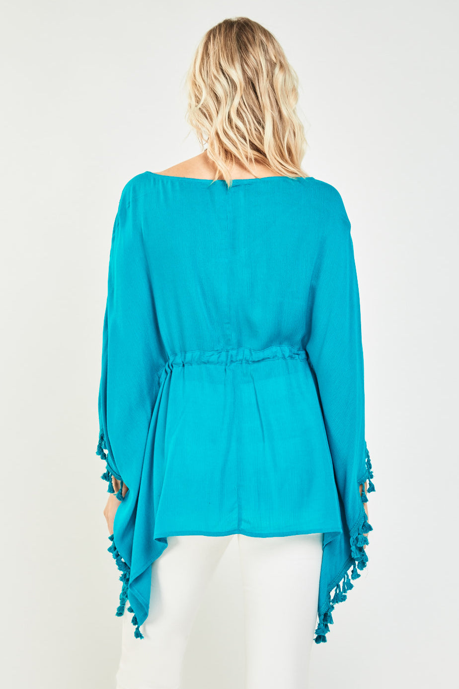Embroidered Fringed Trim Kaftan Top