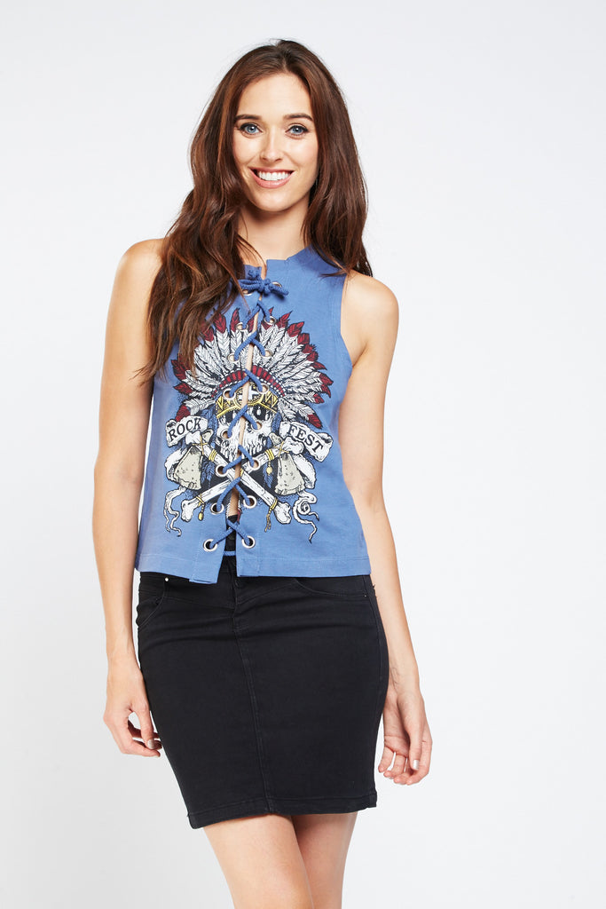 UK Sale | Graphic Printed Lace Up Top - Yashry