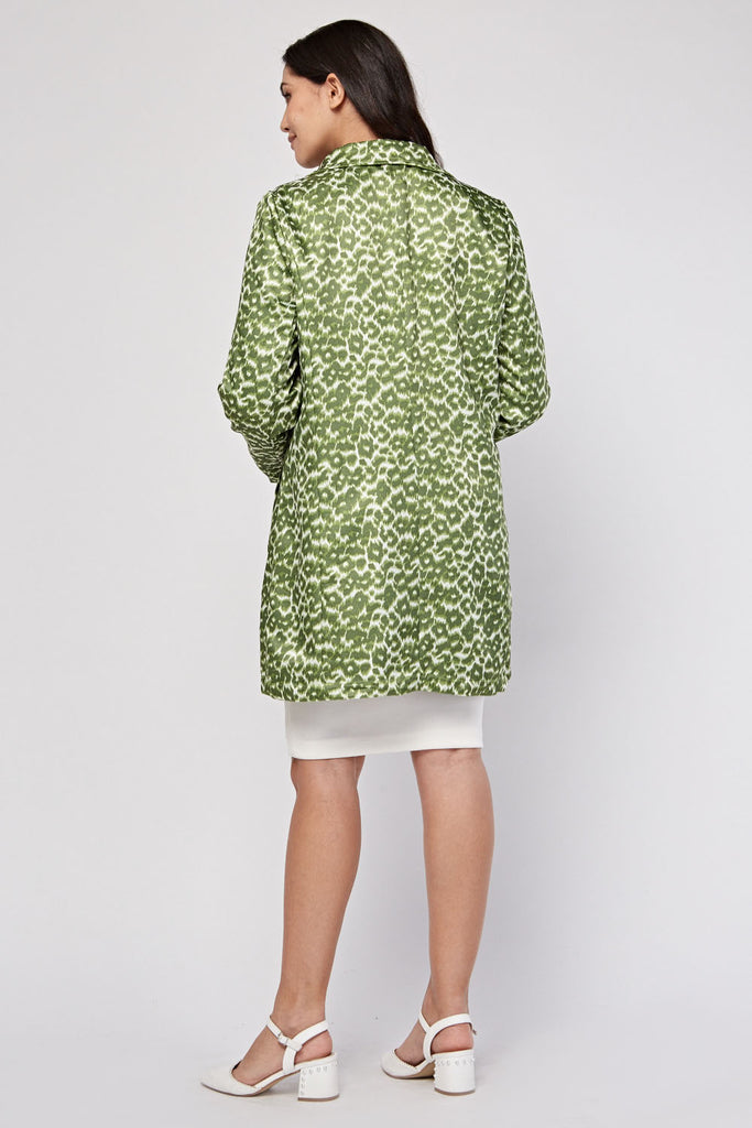 UK Sale | Green Leopard Print Reversible Coat - Yashry