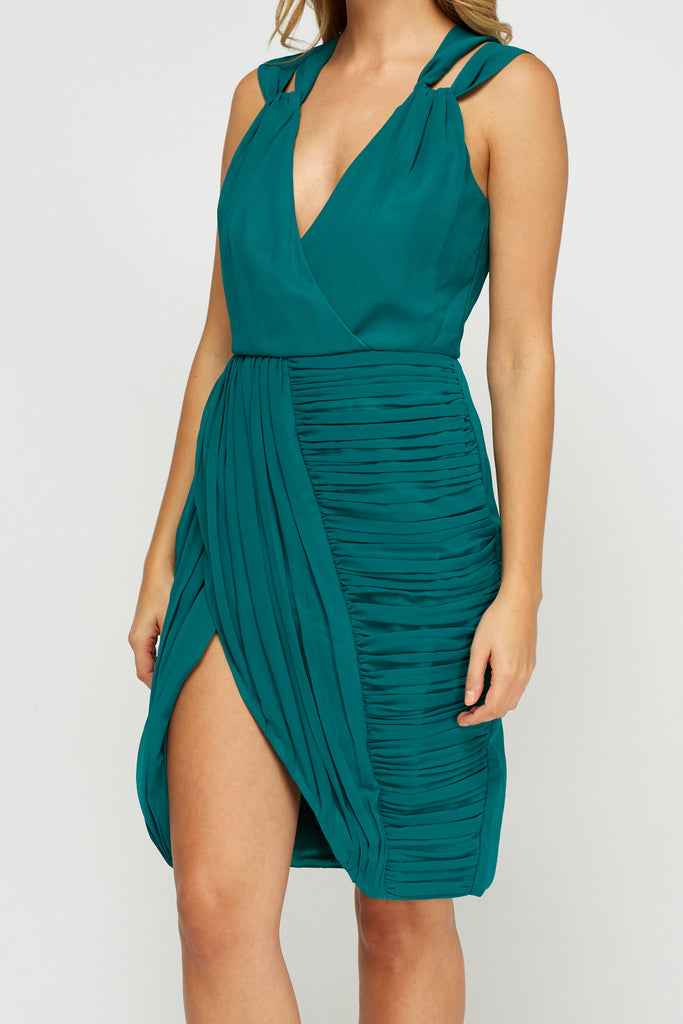 UK Sale | Green Ruched Wrap Dress - Yashry