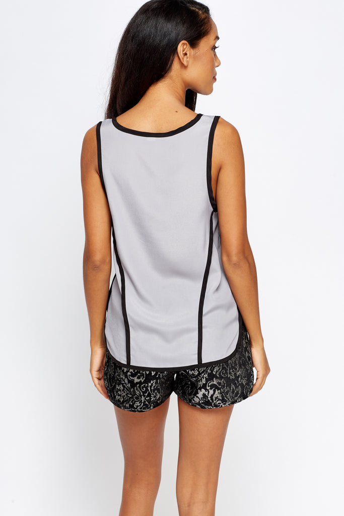 UK Sale | Grey Contrast Vest Top - Yashry
