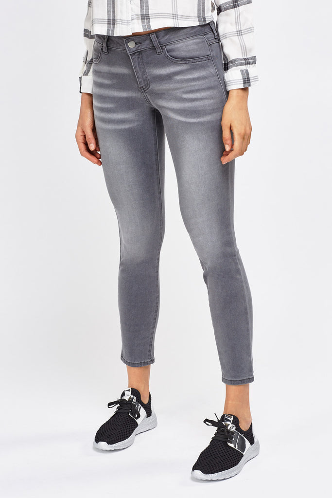 UK Sale | Grey Skinny Denim Jeans - Yashry