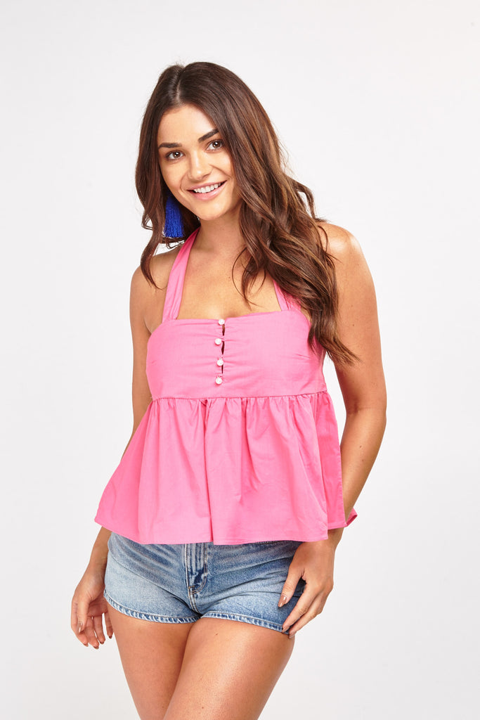 UK Sale | Halter Neck Ruffle Top - Yashry