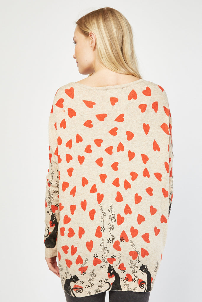 UK Sale | Heart Cat Print Knit Jumper - Yashry