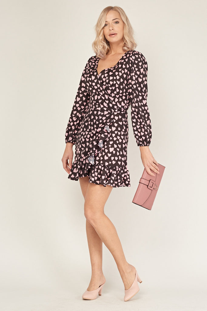 UK Sale | Heart Print Ruffle Wrap Dress - Yashry